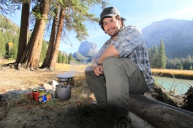 A good way to attract bears is to sit in the smoke of your cooked meal. I don't advise this in bear country, this was set up for the shot. I was eating SPAM by the way - being from Minnesota I thought it was a fitting meal.